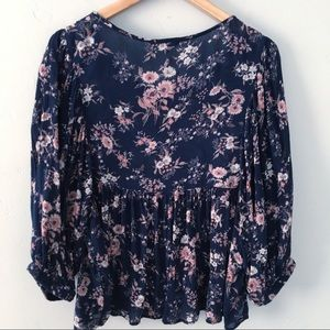 Lucky Brand Boho Floral Babydoll Blouse